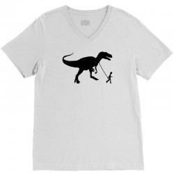 funny t rex pet banksy guys stencil t shirt indie V-Neck Tee | Artistshot