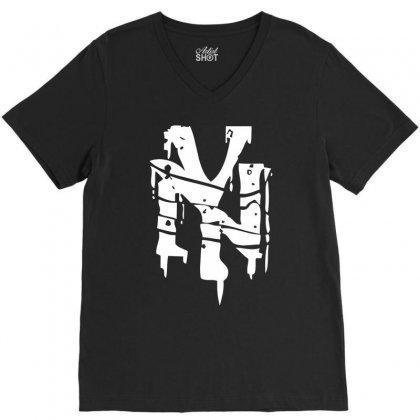 Nyc Drips New York City Stencil Graffiti Street Art Scene Logo Mens T Shirt V-neck Tee Designed By Mdk Art