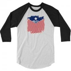 USA Flag Vector 3/4 Sleeve Shirt | Artistshot