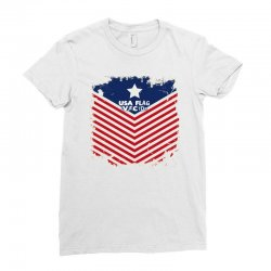 USA Flag Vector Ladies Fitted T-Shirt | Artistshot
