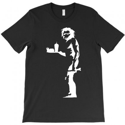 Stabilitees Funny Banksy Graffiti Caveman With Junk Food Stencil Slogan T-shirt Designed By Mdk Art
