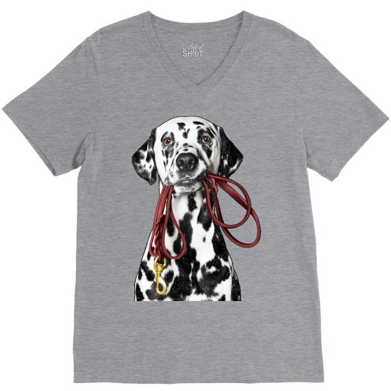 V Neck Style Dalmatian  Dog Breed T-Shirt short sleeved Ladies /& Men/'s Sizes
