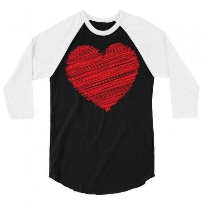 Heart 3/4 Sleeve Shirt Designed By Designbysebastian