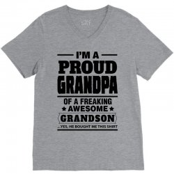 Proud Grandpa Of A Freaking Awesome Grandson V-Neck Tee | Artistshot