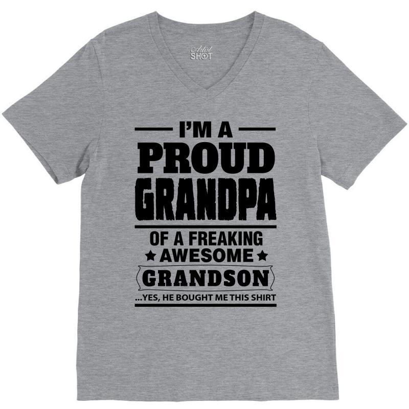 2679ba1c Custom Proud Grandpa Of A Freaking Awesome Grandson V-neck Tee By ...