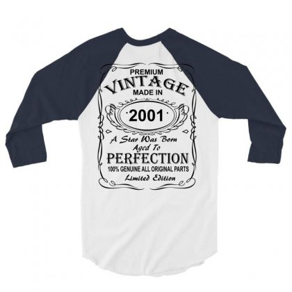 Birthday Gift Ideas For Men And Women Was Born 2001 3/4 Sleeve Shirt Designed By Killakam