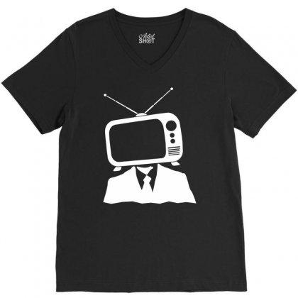 Tv Head V-neck Tee Designed By Marla_arts