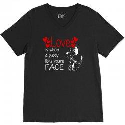 love is when a puppy V-Neck Tee | Artistshot