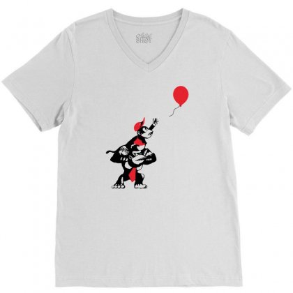 Balloon Apes V-neck Tee Designed By Marla_arts