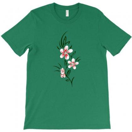 Abstract Flower With Butterflies T-shirt Designed By Satuprinsip