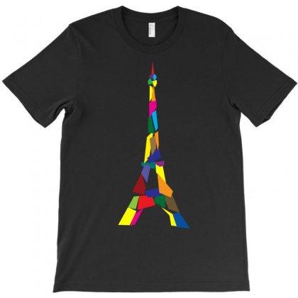 Abstract Eiffel Tower France Paris T-shirt Designed By Satuprinsip