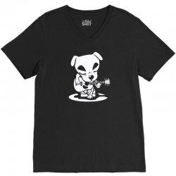 dog plays guitar V-Neck Tee   Artistshot