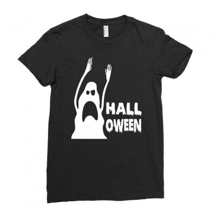 Halloween Ghost Ladies Fitted T-shirt Designed By Printshirts