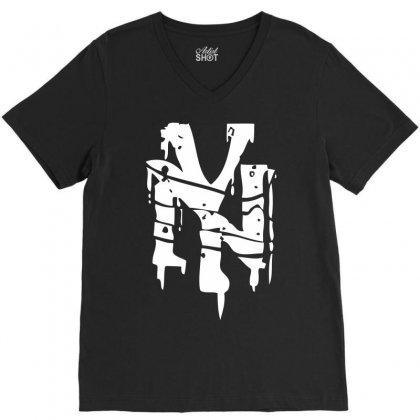 Nyc Riot Graffiti V-neck Tee Designed By Printshirts