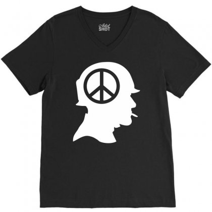 Vietnam Soldier Peace V-neck Tee Designed By Printshirts