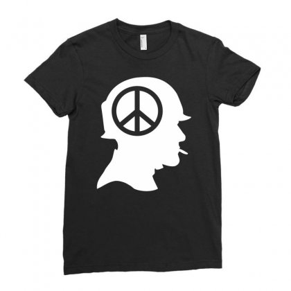 Vietnam Soldier Peace Ladies Fitted T-shirt Designed By Printshirts