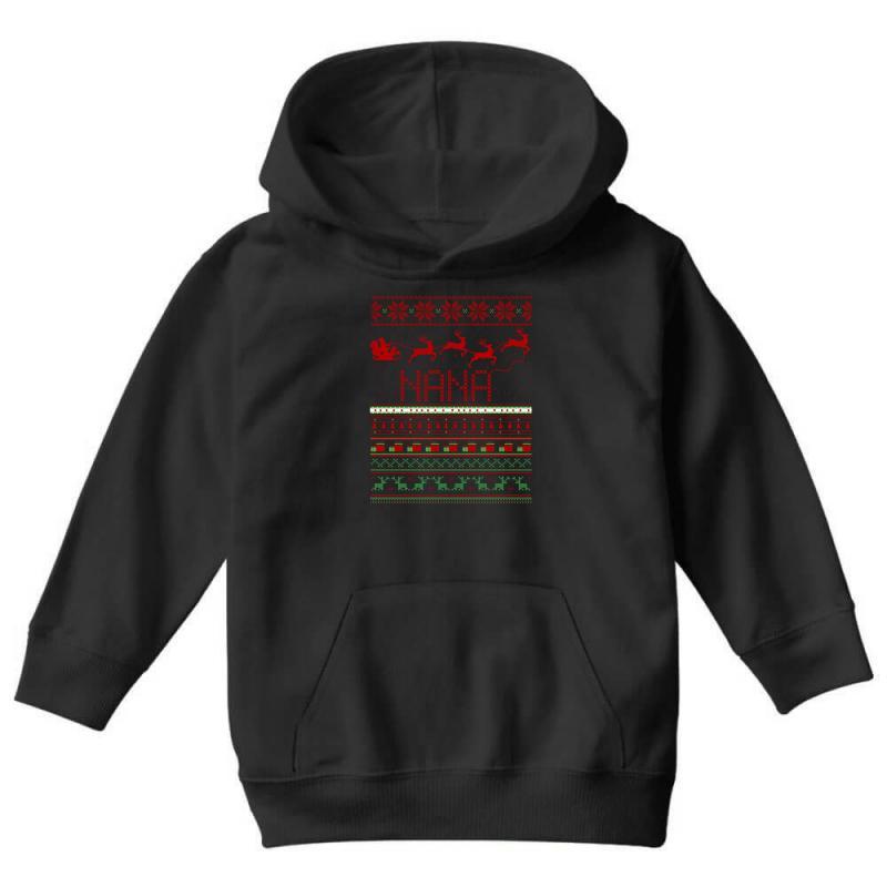 41f15c2d01fb2 Custom Nana Ugly Christmas Sweater Xmas Youth Hoodie By Rardesign ...