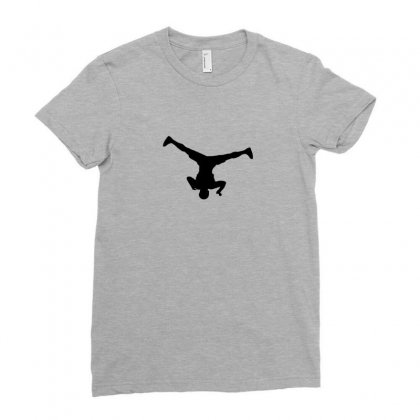 Breakdancer Spin Ladies Fitted T-shirt Designed By Yudyud