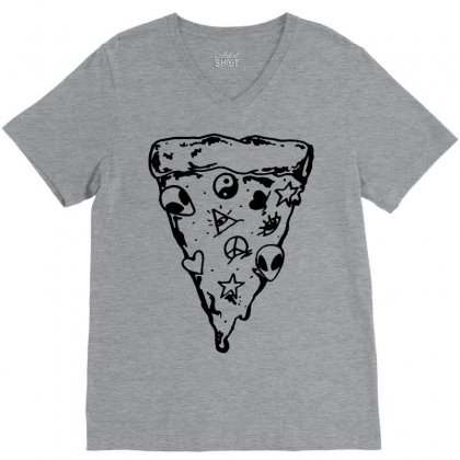 90s Pizza Slice V-neck Tee Designed By Suarepep