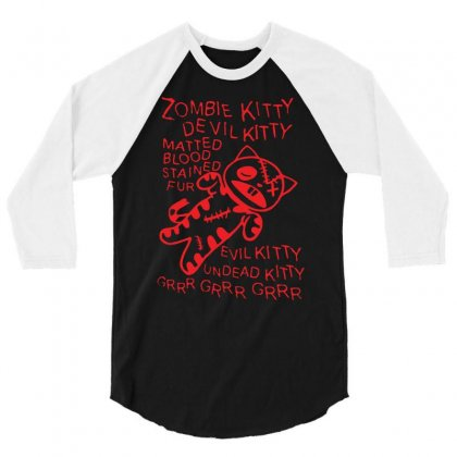 Zombie Soft Kitty 3/4 Sleeve Shirt Designed By Suarepep