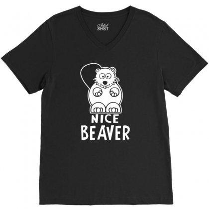 Nice Beaver V-neck Tee Designed By Tonyhaddearts