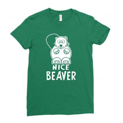 Nice Beaver Ladies Fitted T-shirt Designed By Tonyhaddearts