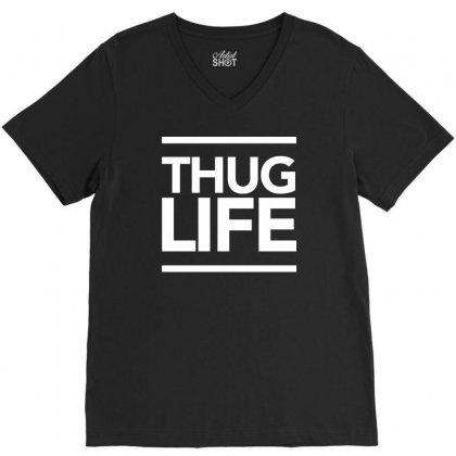 Thug Life V-neck Tee Designed By Tonyhaddearts