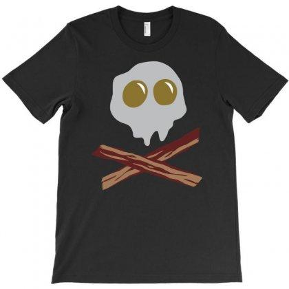 Egg Bacon Skull Bones Funny T-shirt Designed By Mdk Art