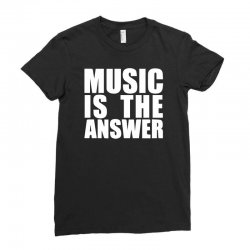music is the answer printed Ladies Fitted T-Shirt | Artistshot