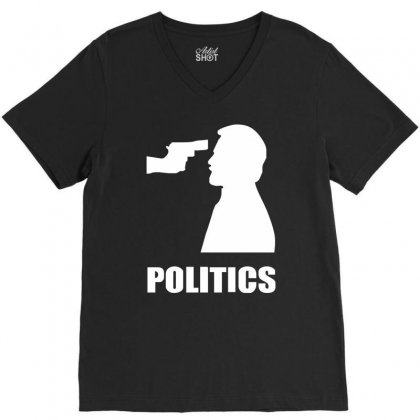 Politics V-neck Tee Designed By Mdk Art