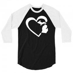 michigan heart love 3/4 Sleeve Shirt | Artistshot