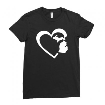 Michigan Heart Love Ladies Fitted T-shirt Designed By Tonyhaddearts