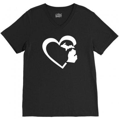 Michigan Heart Love V-neck Tee Designed By Tonyhaddearts