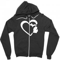michigan heart love Zipper Hoodie | Artistshot