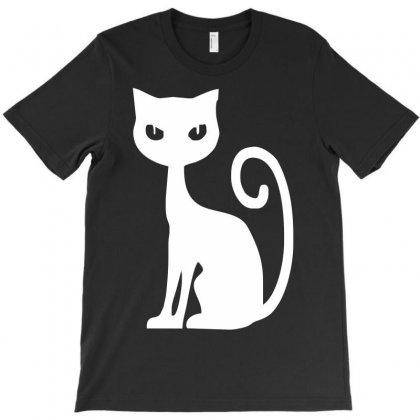 White Cat Funny T-shirt Designed By Mdk Art