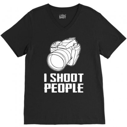 Digital Camera I Shoot People V-neck Tee Designed By Andini