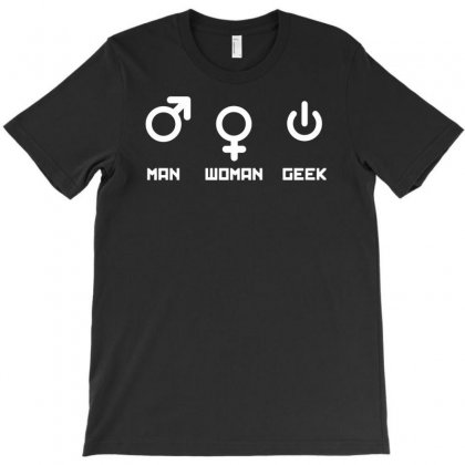 Man Woman Geek T-shirt Designed By Andini