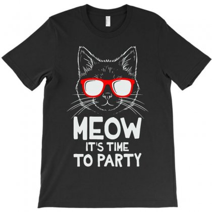 Meow It's Time To Party T-shirt Designed By Andini