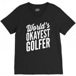 world's okayest golfer V-Neck Tee | Artistshot