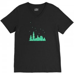 chicago skyline V-Neck Tee | Artistshot