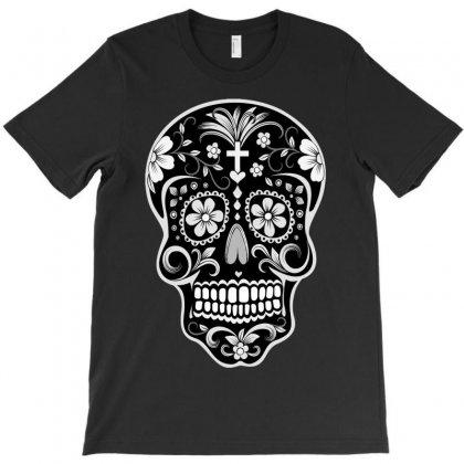 Day Of The Dead Sugar Skull Black T-shirt Designed By Satuprinsip