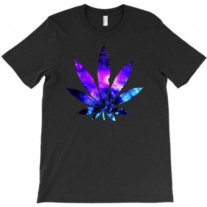 Galaxy Weed Leaf T-shirt Designed By Mardins