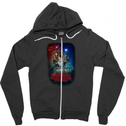 Stranger Things Poster Zipper Hoodie Designed By Vr46