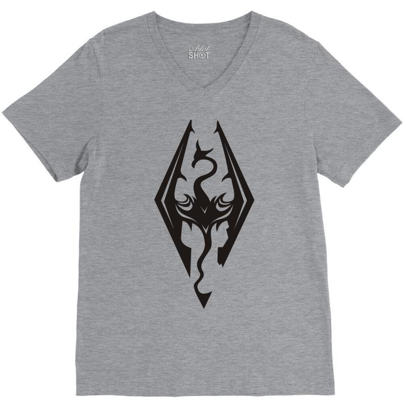 693b724eda7bd mens skyrim elder scrolls oblivion logo inspired womens t shirt V-Neck Tee