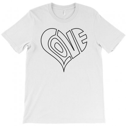 Men's Love Heart Outline Valentine's Day T Shirt T-shirt Designed By Setia15ginting