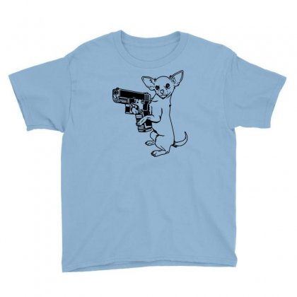 Armed Chihuahua Youth Tee Designed By Robinhoodie