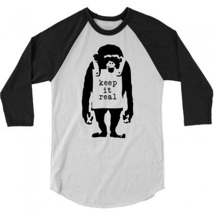 Banksy Keep It Real 3/4 Sleeve Shirt Designed By Robinhoodie