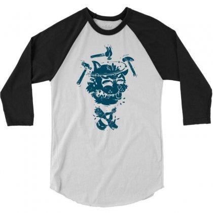 Dizzy Drunk Cat 3/4 Sleeve Shirt Designed By Mdk Art