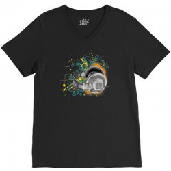 Music Animated Headphones Tshirt V-Neck Tee | Artistshot