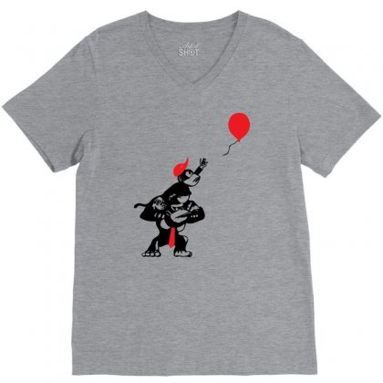 Balloon Apes V-neck Tee Designed By Chilistore